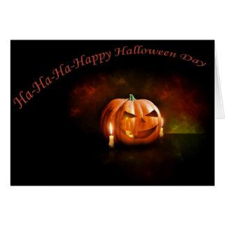 Cartão Dia feliz do Dia das Bruxas da abóbora assustador