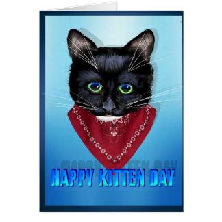 Cartão Dia feliz do gatinho