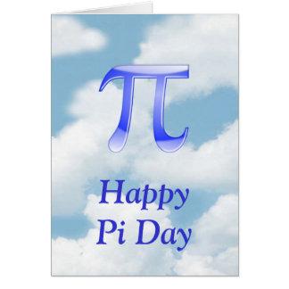 Cartão Dia feliz Pi do Pi no céu com nuvens azuis
