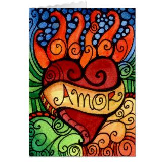 Cartão Dia flamejante do coração de Amor do design de