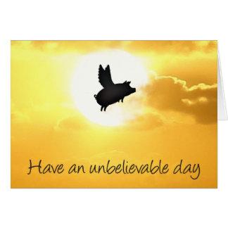 Cartão dia inacreditável - notecard do porco do vôo