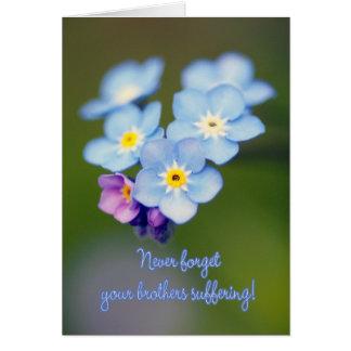 Cartão Dia maçónico da relembrança - miosótis de madeira