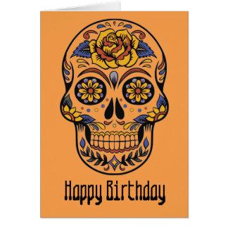 Cartão Dia mexicano do crânio do aniversário inoperante