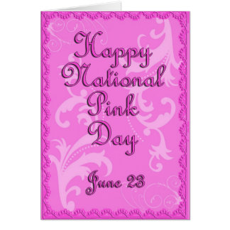 Cartão Dia o 23 de junho cor-de-rosa nacional