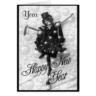 Cartão Dia retro de NewYears do ano novo do vintage