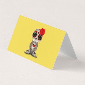 Cartão Dia vermelho do leão de mar inoperante do bebê