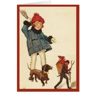 Cartão Diabo da perseguição da menina & do Dachshund do