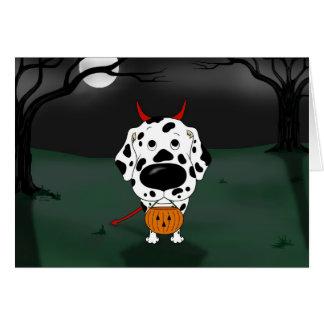 Cartão Diabo do Dia das Bruxas do Dalmatian