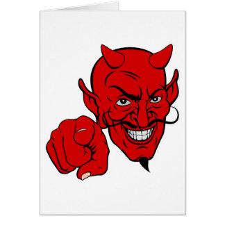 Cartão Diabo que aponta o personagem de desenho animado