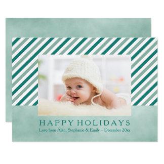 Cartão diagonal do feriado da foto da listra da convite 12.7 x 17.78cm