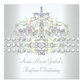 Cartão Diamante branco da pérola da prata da tiara do