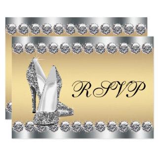 Cartão Diamante de prata Bling RSVP do ouro da mulher