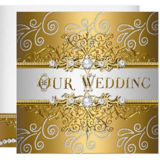 Cartão Diamante elegante Wedding do laço da prata do ouro