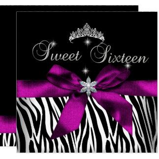 Cartão Diamantes cor-de-rosa do branco do preto da zebra