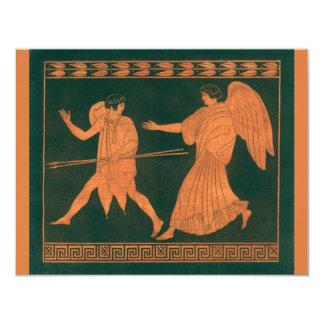 Cartão Diana e um anjo, mitologia romana do vintage