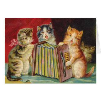 Cartão diário do Victorian musical dos gatinhos