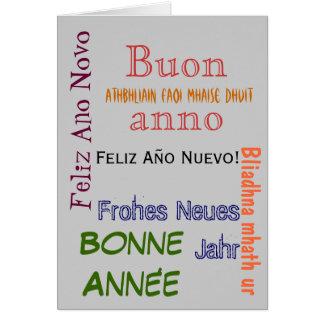 Cartão diferente do feliz ano novo das línguas