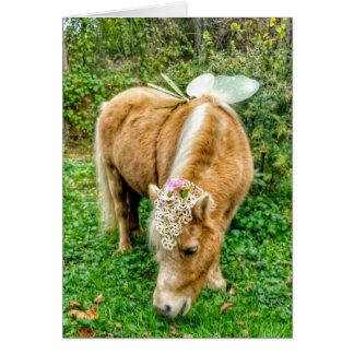 cartão diminuto da fada do cavalo