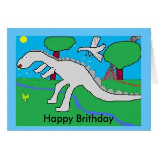 Cartão dinasaur, Brithday feliz