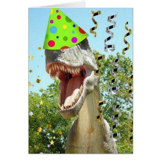 Cartão Dinossauro de T-Rex do feliz aniversario