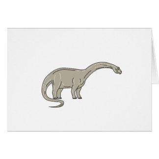Cartão Dinossauro do Brontosaurus que olha abaixo da mono