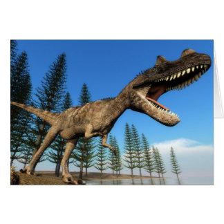 Cartão Dinossauro do Ceratosaurus na linha costeira - 3D