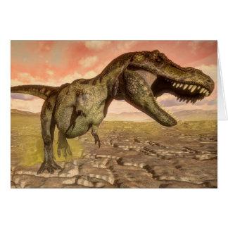 Cartão Dinossauro do rex do tiranossauro que ruje