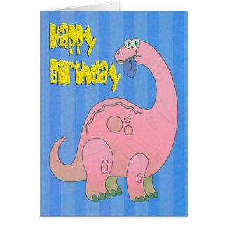 Cartão Dinossauro do rosa do feliz aniversario