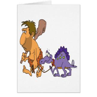 Cartão dinossauro engraçado do homem das cavernas e do