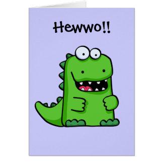 Cartão Dinossauro feliz verde bonito