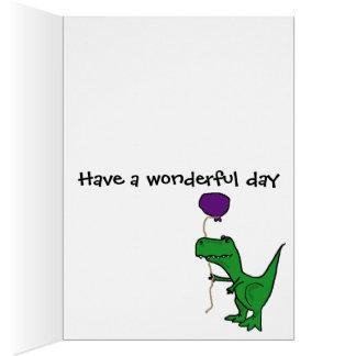 Cartão Dinossauro verde engraçado de Trex que guardara o