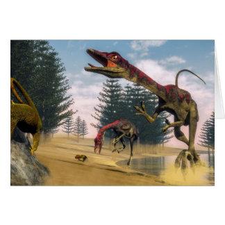 Cartão Dinossauros de Compsognathus - 3D rendem