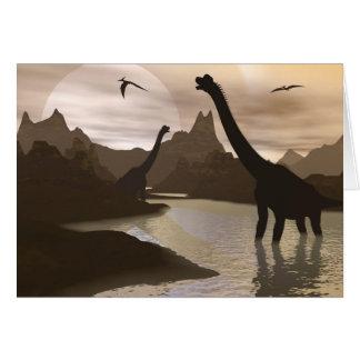 Cartão Dinossauros do Brachiosaurus na água - 3D rendem