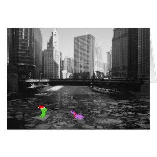 Cartão Dinossauros no gelo, Chicago River