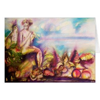 Cartão DIONYSUS, jogando a flauta com escudos e frutas do