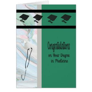 Cartão Diploma na medicina, verde com bonés &