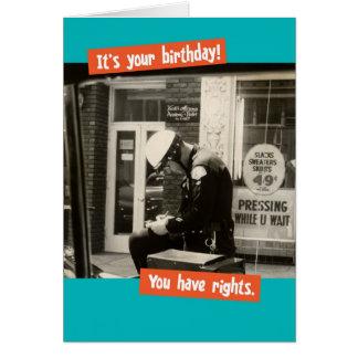 Cartão Direitos engraçados do aniversário da bobina do