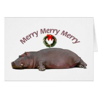 Cartão Divertimento alegre alegre alegre do Hippopotamus