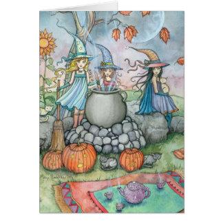 Cartão Divertimento do tea party do gato da bruxa do