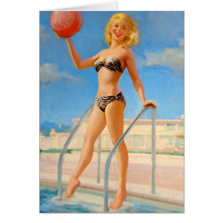 Cartão Divertimento no Pin da piscina acima