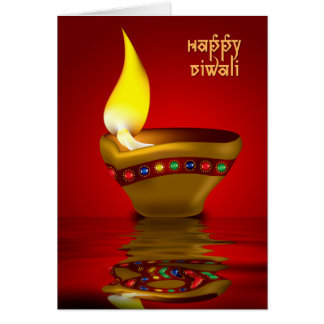 Cartão Diwali Diya - ilustração da lâmpada de óleo