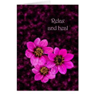 Cartão Dizer floral do incentivo relaxa e cura