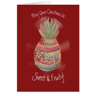 Cartão do abacaxi do Natal na obscuridade -