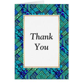 Cartão Do abstrato verde do azul de Boho teste padrão