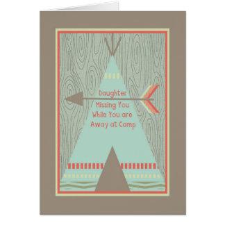 Cartão do acampamento de Verão à filha com barraca
