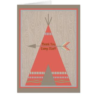 Cartão do acampamento de Verão para agradecer a