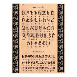Cartão do alfabeto arménio
