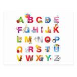 cartão do alfabeto cartão postal