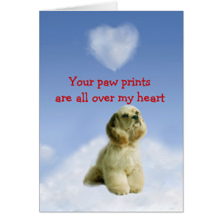 Cartão do amor de filhote de cachorro de cocker