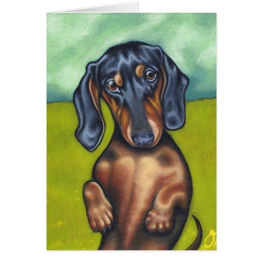 Cartão do amor de filhote de cachorro de Daschund